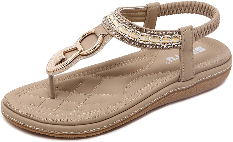 Btrada Women T Strap Bohemia Flat Sandals Cz Comfort Dress Sandals
