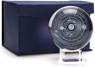 أونماي النظام الشمسي كرة زجاجية كروية كروية كروية عرض الكرة الكرة الأرضية شفاء وزن الورق التأمل مع حامل شفاف كهدية إبداعية
