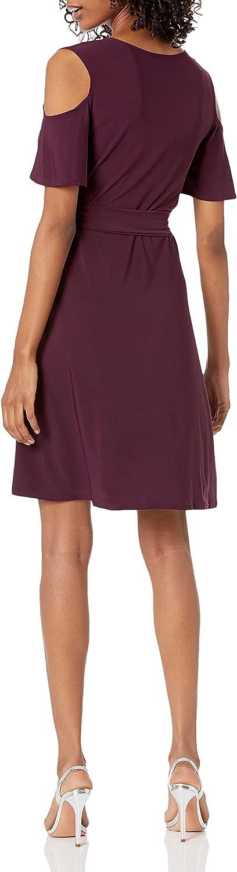 Star Vixen Women's Cutout Cold Shoulder Short Sleeve Faux Wrap Dress