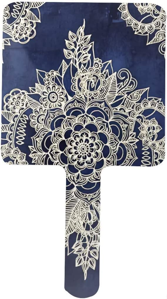 Cream Floral Moroccan Pattern On Indigo Square Hand Overseas parallel import regular item Deep Mirror low-pricing