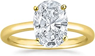 1 Ct Oval Cut Solitaire Diamond Engagement Ring 14K White Gold (K Color SI1 Clarity)
