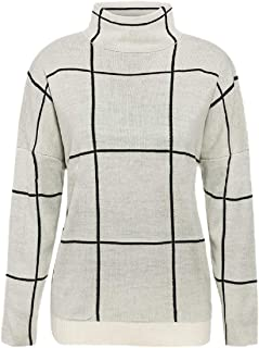Womens White Grid Casual Knit Long-Sleeve Pullover Turtle Neck Sweater
