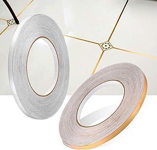 Home Decor Floor Seam Sticker self-adhesive Tile Stickers Decorative Sealing Foil Tape Waterproof Gold Silver DIY Foil Strip Wall Sticker (Gold, L-2CM*50M)