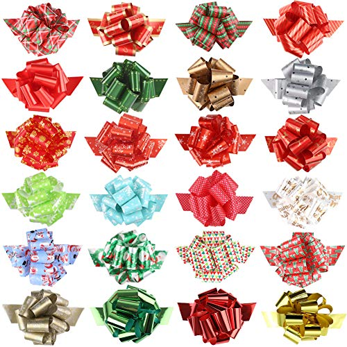3 otters Christmas Bows, 24PCS Christmas Pull Bows 6.2inch Gift Ribbon Pull Bows, Wrapping Accessory for Xmas Present