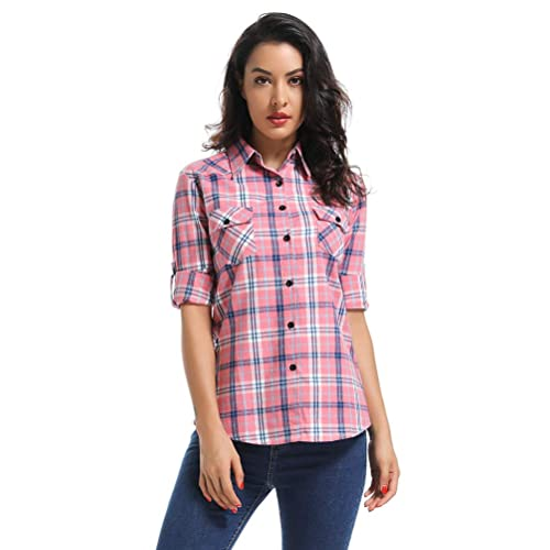c6d35ea3a OCHENTA Women's Long Sleeve Button Down Plaid Flannel Shirt