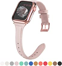 MARGE PLUS Compatible Apple Watch Band with Case 38mm 40mm Women, Slim Genuine Leather Watch Strap with Soft TPU Protective Case Replacement for iWatch Series 5 4 3 2 1, Pink