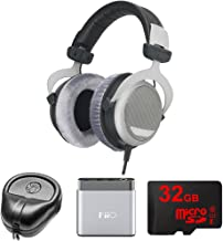 beyerdynamic DT 880 Premium Headphones 600 OHM (491322) with Slappa HardBody Headphone Case, FiiO A1 Port. Headphone Amplifier & 32GB MicroSD High-Speed Memory Card