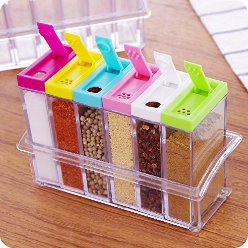 SAS Set of 6 Spice Dispenser Set Masala Boxes for Kitchen Spice Storage Containers Rack Seasoning Box