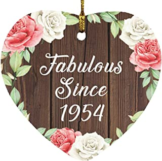 67th Birthday Fabulous Since 1954 - Heart Wood Ornament A Christmas Tree Hanging Decor - for Friend Kid Daughter Son Gran...