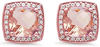 Halo Cushion Bridal Earrings Round Cubic Zirconia 925 Sterling Silver Choose Color