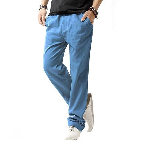 4d3d82d936e SIR7 Men s Linen Casual Lightweight Drawstrintg Elastic Waist Summer Beach  Pants