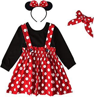 Baby Girl Toddler Kids Suspender Polka Dots Dress Christmas Halloween Party Costume 1st Birthday Cake Smash Outfit Long Sl...