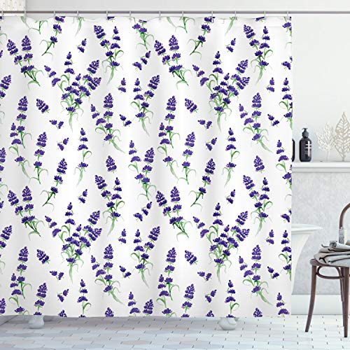 ABAKUHAUS Duschvorhang, Aquarell Lavendel Blühenden Duftenden Bleichen Pflanzen Natur Kunst Symmetrisch Druck Muster, Wasser & Blickdicht aus Stoff mit 12 Ringen Bakterie Resistent, 175 X 200 cm