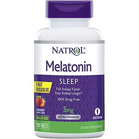 Natrol Melatonin Fast Dissolve Tablets, Helps You Fall Asleep Faster, Stay Asleep Longer, Easy to Take, Dissolves in Mouth, Strengthen Immune System, Strawberry Flavor, 5mg, 150 Count