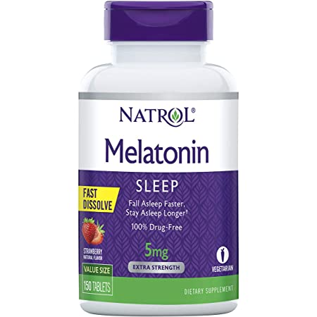 Natrol Melatonin Fast Dissolve Tablets, Helps You Fall Asleep Faster, Stay Asleep Longer, Easy to Take, Dissolves in Mouth, Faster Absorption, Strawberry Flavor, 5mg, 150Count (467.921)