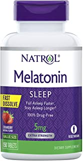 Natrol Melatonin Fast Dissolve Tablets, Helps You Fall Asleep Faster, Stay Asleep Longer, Easy to Take, Dissolves in Mouth...