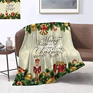 Luoiaax Christmas Children's Blanket Noel Ornaments with Birch Branch Cute Ribbons Bells Candy Canes Art Image Lightweight Soft Warm and Comfortable W55 x L55 Inch Golden Red Green
