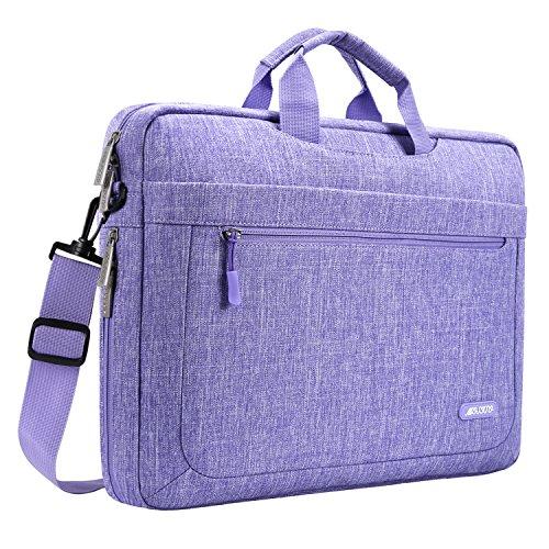 MOSISO Umhängetasche Laptoptasche Kompatibel mit 17-17,3 Zoll MacBook/Notebook/Chromebook, Polyester Schultertasche mit Einstellbar Tiefe beim Unterseite, Lila