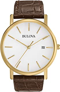 Bulova Men's 97B100 Classic Gold-Tone Stainless Steel Watch With Brown Leather Band