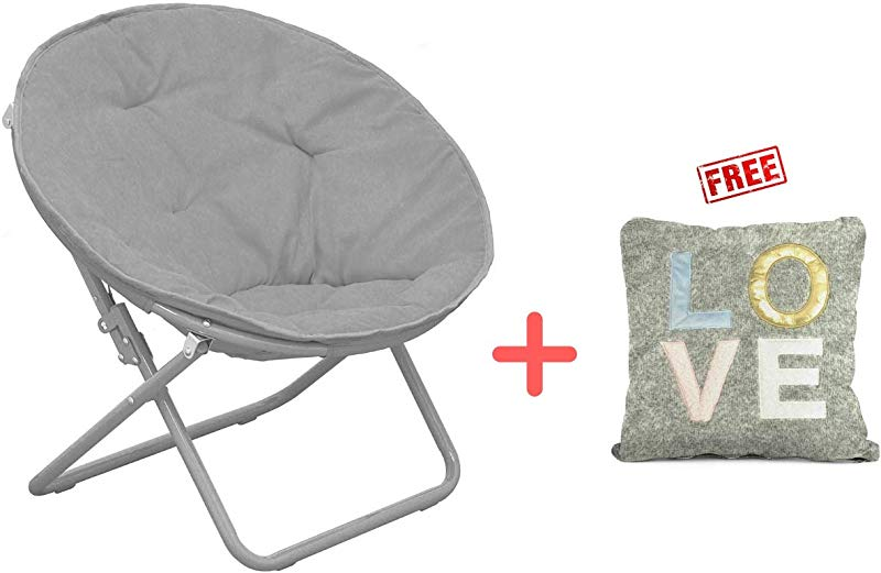 American Kids Solid Faux Fur Saucer Chair Polyester Fabric Content In Grey Finish With Free