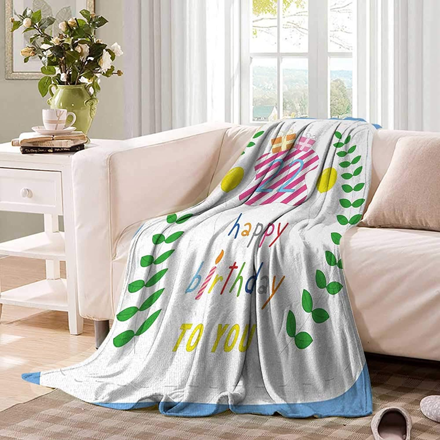 22nd Birthdayblanket Throw blanketAnniversary Kids Girls Party with Leaves and Presents Balloon Party Designoutdoor Blanket 60 x50  Multicolor