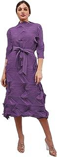 فستان دلما بتصميم مكشكش بطيات مع حزام خصر للنساء من اليتا بليت، فستان بطيات مكشكشة للفتيات