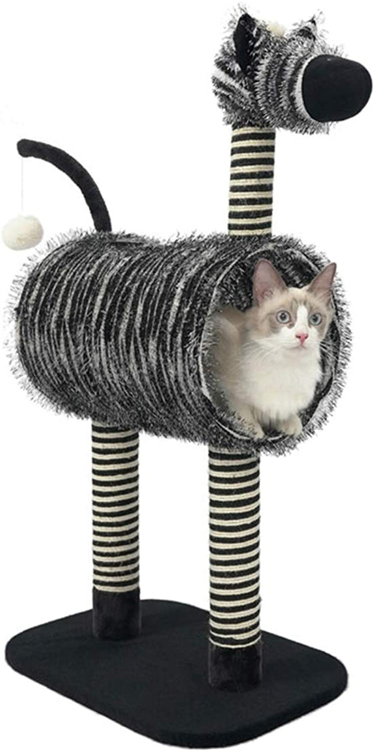 Cat Tree   Creative Zebra Style Cat Climbing Tower Condo with Pompom, SisalCovered Scratch Pillar, Activity Centre  for Kittens, Cats and Pets