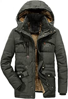 APTRO Men's Parkas Jacket Faux Fur Lined Winter Coat Insulated Jacket with Removable Hooded