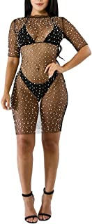 Women's Mesh Cover Up See Through Summer Beach Mini Dress or Two Piece Outfits