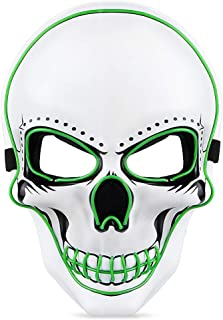 Halloween LED Scary Mask - Halloween Costume Mask EL Wire Light Up LED Glowing Mask with 3 Lighting Modes for Halloween Cosplay Carnivals Festival Party Fit Men Women Kids - in US Stock White