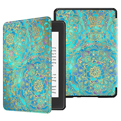 FINTIE Slimshell Case for Kindle Paperwhite (10th Generation, 2018 Release) - Premium Lightweight PU Leather Cover with Auto Sleep/Wake for Amazon Kindle Paperwhite E-Reader, Shades of Blue