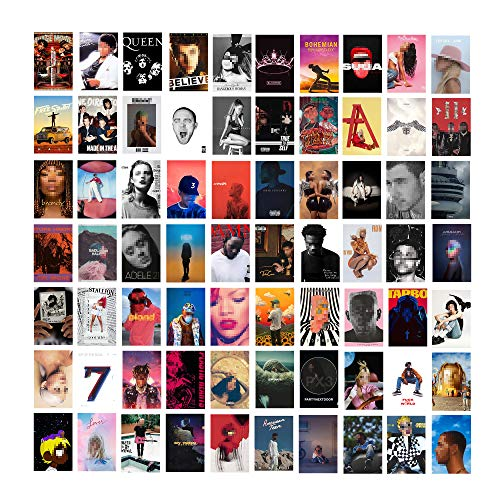 Btaidi 70 Pcs Album Cover Aesthetic Pictures Wall Collage Kit, Album Style Photo Collection Collage Dorm Decor for Girl and Boy Teens, Vintage Trendy Wall Prints Kit, 4x6 inch Small Poster for Room Be...