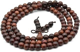 Unisex Natural Rosewood Prayer Beads Buddha Buddhist Prayer Meditation Mala Necklace Bracelet