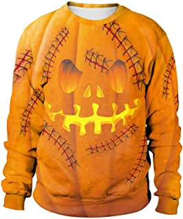Men Hoodie Halloween Scary Casual 3D Print Sweatshirt Party Long Sleeve Individuality Pullover Round Neck Top Blouse Yellow A L2