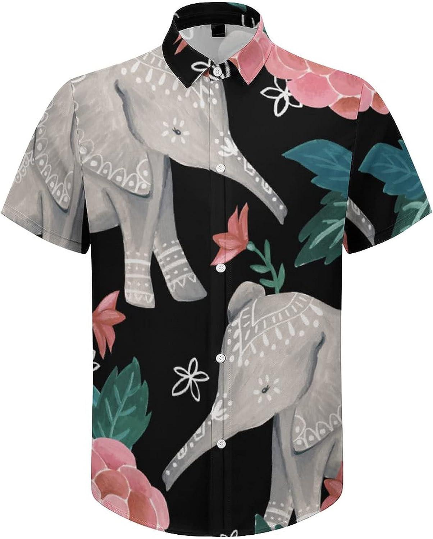 Mens Button Down Shirt Cute Elephant Pink Floral Casual Summer Beach Shirts Tops