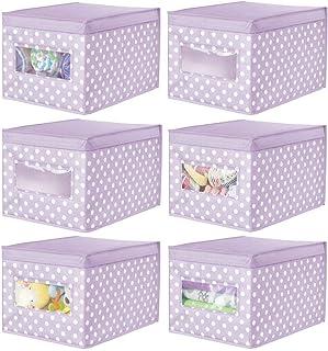 mDesign casier en Tissu empilable (Lot de 6) – boîte de Rangement en Fibres synthétiques avec Couvercle & fenêtre de visua...