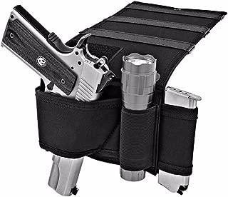 Adjustable Under Mattress Bedside Pistol Holster Car Seat Desk Closet Gun Handgun Holster with Flashlight Loop Magazine Holder