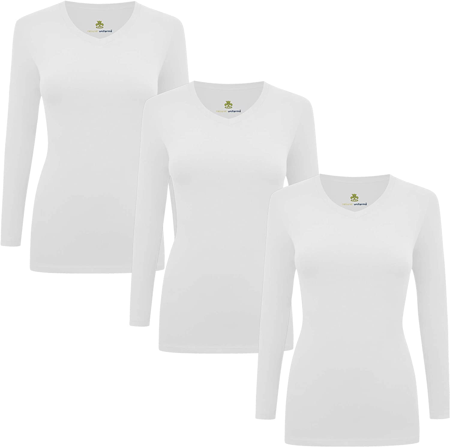 Natural Uniforms Women's Under Scrub Tee V-Neck Long Sleeve T-Shirt Pack of 3 - Multi Pack of 3