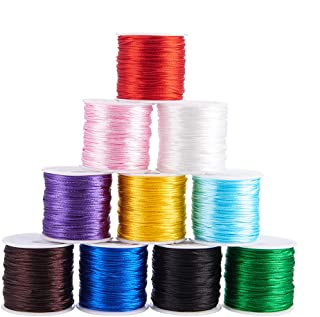 PH PandaHall 10 Colors 1mm Rattail Satin Nylon Trim Cord for Necklace Bracelet Beading Chinese Knot, 10 x 32.8yards