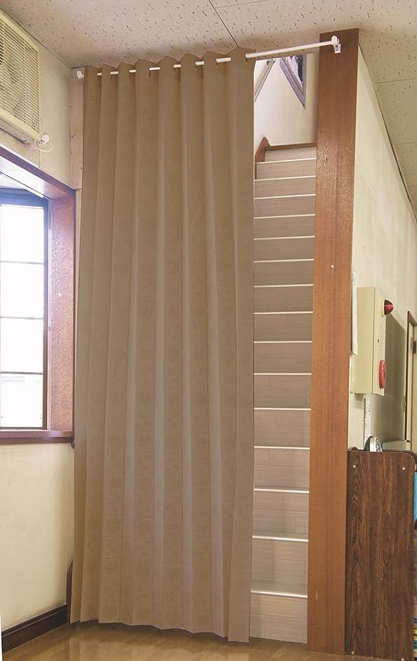 ウール反対するリーチ遮熱断熱 間口を仕切って冷暖房効率アップ ロングアコーディオンのれん「バラ柄」 (ブラウン)