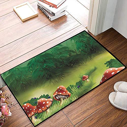 Rutschfester Badvorleger, Fliegenpilze Magical Wonderland Rasen Wiese Landschaft Greenwood Design,Mikrofaser Duschvorleger Teppich für Badezimmer Küche Wohnzimmer 40x60 cm