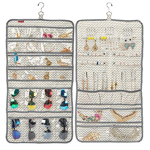 FINDCOZY Hanging Jewelry Organizer, Visible sunglasses Storage Holder, Large capacity with multiple pockets on double sides, Ripple