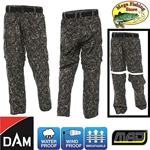 Dam MMCY Combat Outdoor Zip-Off Angel Hose - Allwetter Angelhose Wasserdicht Atmungsaktiv - Camouflage (XXL)