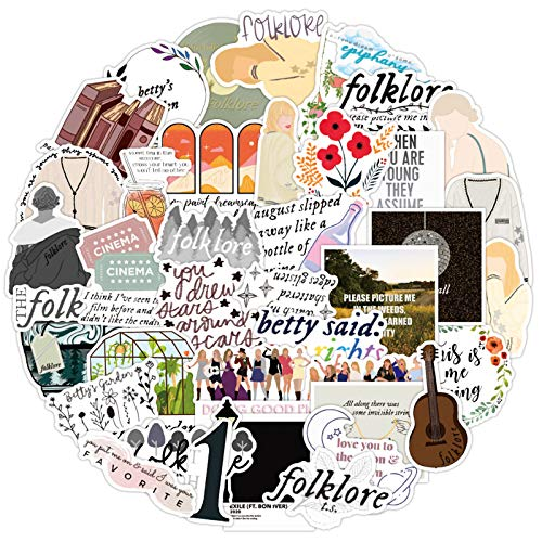 Folklore Vinyl Stickers 50pcs, Taylor Swift Stickers, Laptop Waterproof Stickers for Teen Adult Water Bottle Phone Luggage Skateboard Guitar