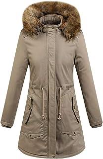 Wadonerful Womens Hooded Coat Fur Hood Long Sleeve Winter Warm Thick Slim Long Cotton Jacket Overcoat Plus Size Outwear