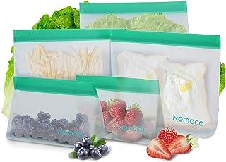 Nomeca Bolsas de Almacenamiento de Alimentos Reutilizables 5 Bolsas Sándwich y Merienda Portátil Doble Zip Bolsas Comida Hermeticas para Almuerzo Fruta Bocadillito Congelación Cocina Viaje - 2 Tamaños