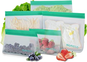 Reusable Food Storage Bags, Nomeca 5 Pack Extra Thick BPA-FREE PEVA Ziplock Sandwich Bag, Airtight Leakproof Freezer Safe Bags for Lunch, Meal Prep, Snack, Liquid, Fruit, Sous Vide - 3 Large 2 Small