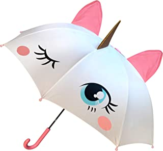 Unicorn Umbrella for Girls, Magical POP-OUT Golden Horn & Pink Ears, Easy To Open & Close, Great Gift & for Back to School Kids of all ages!