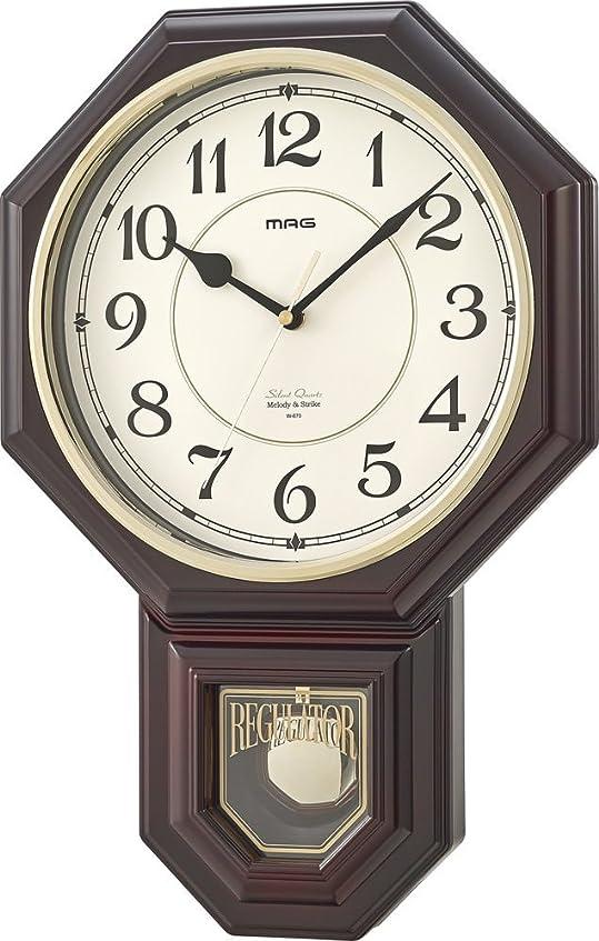 メキシコ中世の活気づけるMAG(マグ) 掛け時計 振り子 非電波 アナログ 西洋館 連続秒針 16曲メロディ報時 ブラウン W-670BR