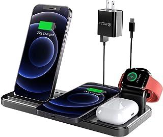 AEOEO ワイヤレス充電器 2021最新版 4 in 1 充電器 多機能 充電ベース 置くだけ充電 2台スマホ 携帯電話 充電スタンド Apple Air Pods 2 / Air Pods Pro 急速QI ワイヤレスチャージャー iWat...